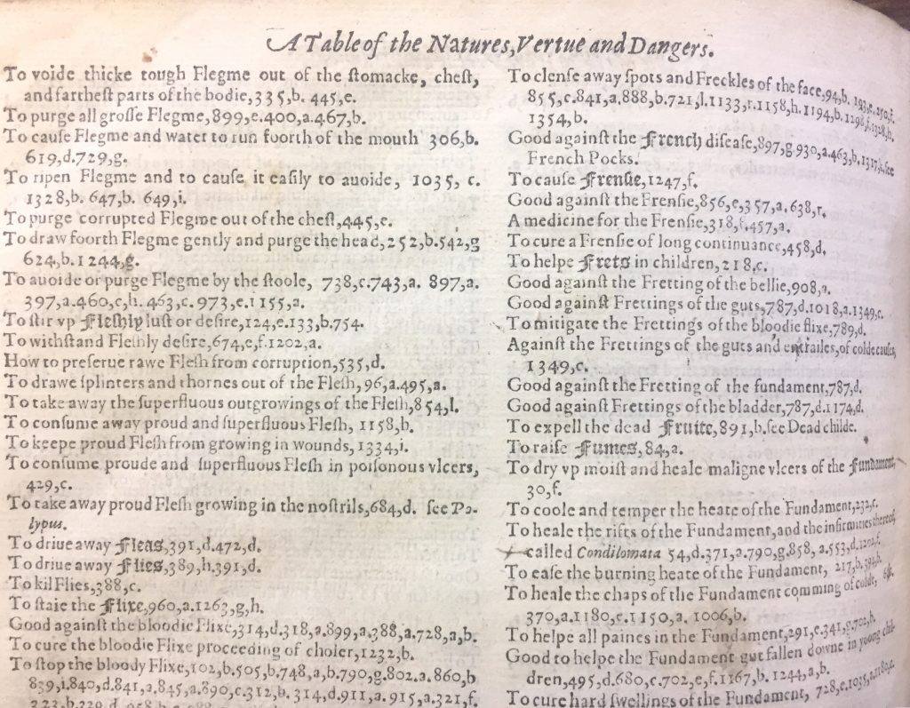 "1597 edition of Gerard's Herbal: ""A Table of the Natures, Virtue and Dangers"""